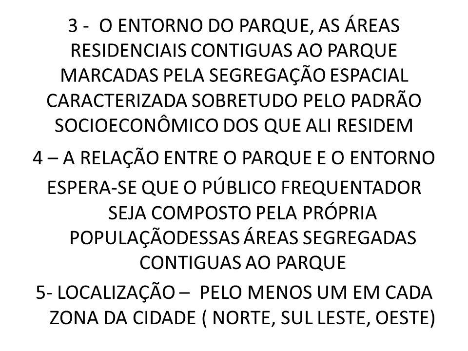 3 - O ENTORNO DO PARQUE, AS ÁREAS RESIDENCIAIS CONTIGUAS AO PARQUE MARCADAS PELA SEGREGAÇÃO ESPACIAL CARACTERIZADA SOBRETUDO PELO PADRÃO SOCIOECONÔMIC