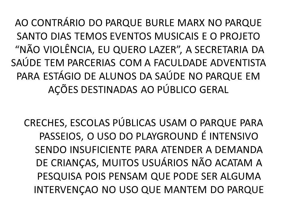 AO CONTRÁRIO DO PARQUE BURLE MARX NO PARQUE SANTO DIAS TEMOS EVENTOS MUSICAIS E O PROJETO NÃO VIOLÊNCIA, EU QUERO LAZER, A SECRETARIA DA SAÚDE TEM PAR