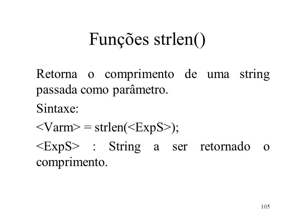 Funções strlen() Retorna o comprimento de uma string passada como parâmetro.