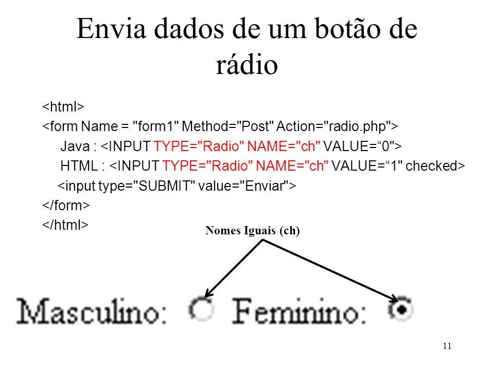 Envia dados de um botão de rádio Java : HTML : 11 Nomes Iguais (ch)