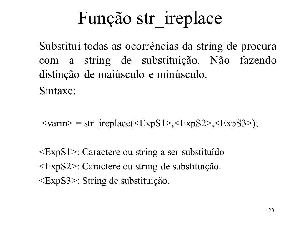 Função str_ireplace Substitui todas as ocorrências da string de procura com a string de substituição.