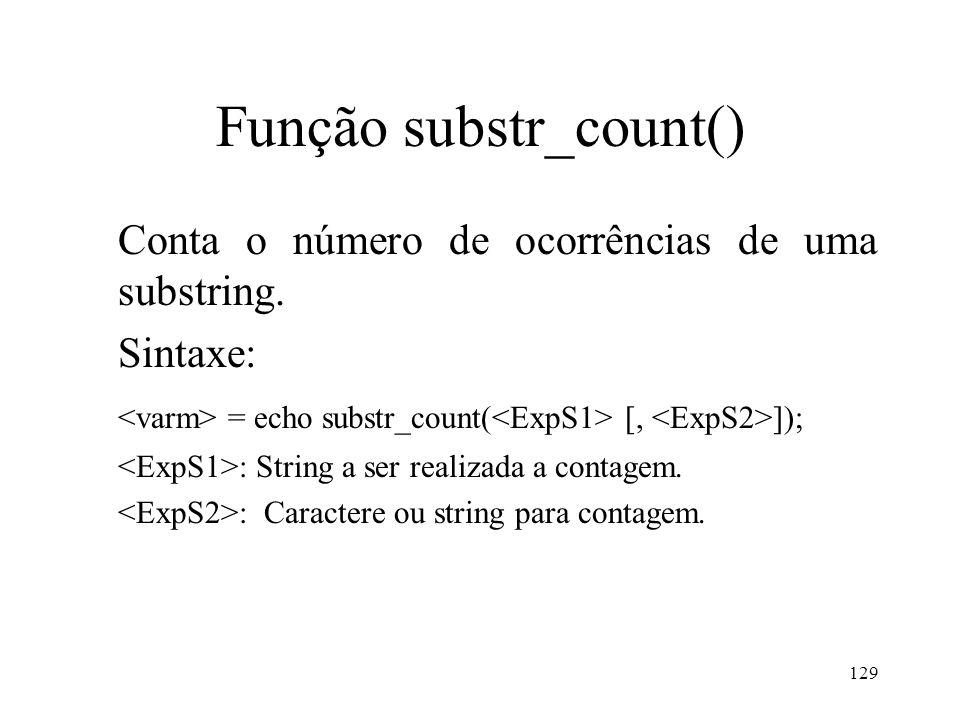 Função substr_count() Conta o número de ocorrências de uma substring.