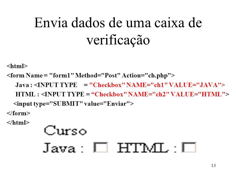 Envia dados de uma caixa de verificação Java : HTML : 13
