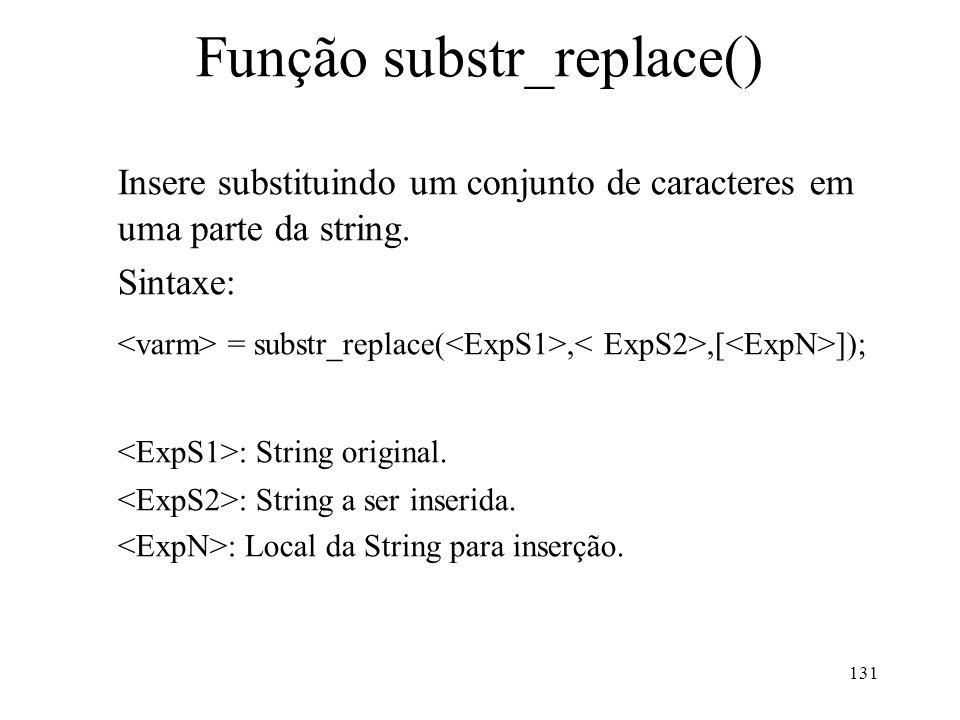 Função substr_replace() Insere substituindo um conjunto de caracteres em uma parte da string.