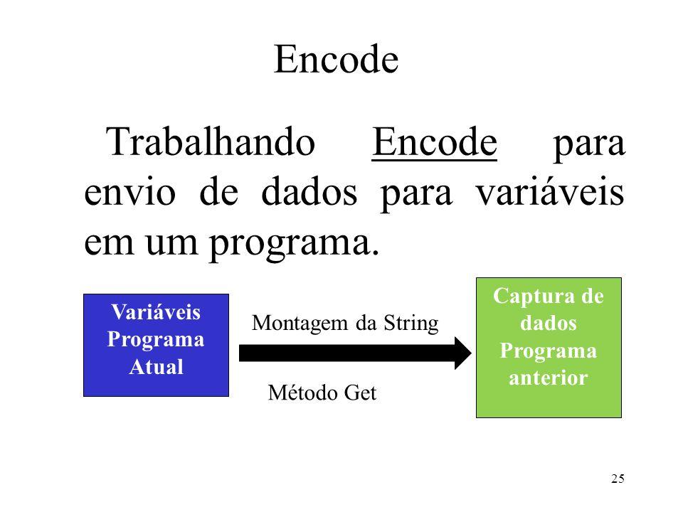 Encode Trabalhando Encode para envio de dados para variáveis em um programa.