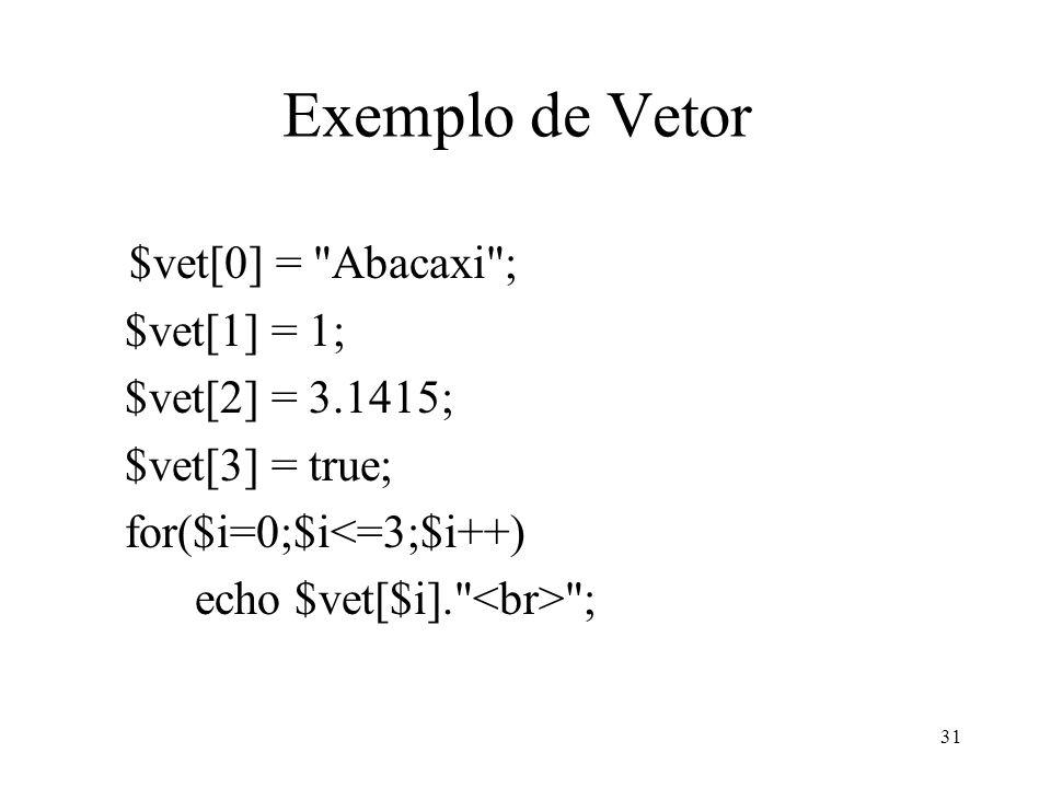 Exemplo de Vetor $vet[0] = Abacaxi ; $vet[1] = 1; $vet[2] = 3.1415; $vet[3] = true; for($i=0;$i<=3;$i++) echo $vet[$i]. ; 31