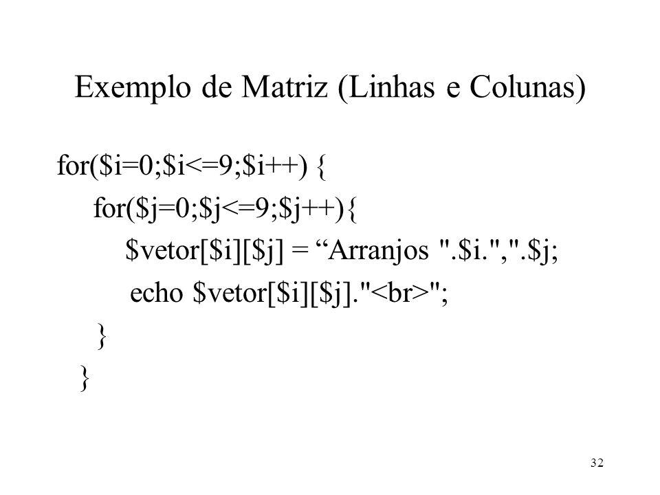 Exemplo de Matriz (Linhas e Colunas) for($i=0;$i<=9;$i++) { for($j=0;$j<=9;$j++){ $vetor[$i][$j] = Arranjos .$i. , .$j; echo $vetor[$i][$j]. ; } 32