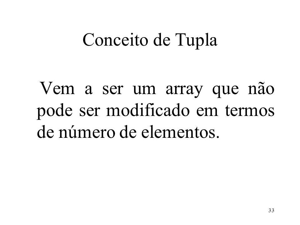 Conceito de Tupla Vem a ser um array que não pode ser modificado em termos de número de elementos.
