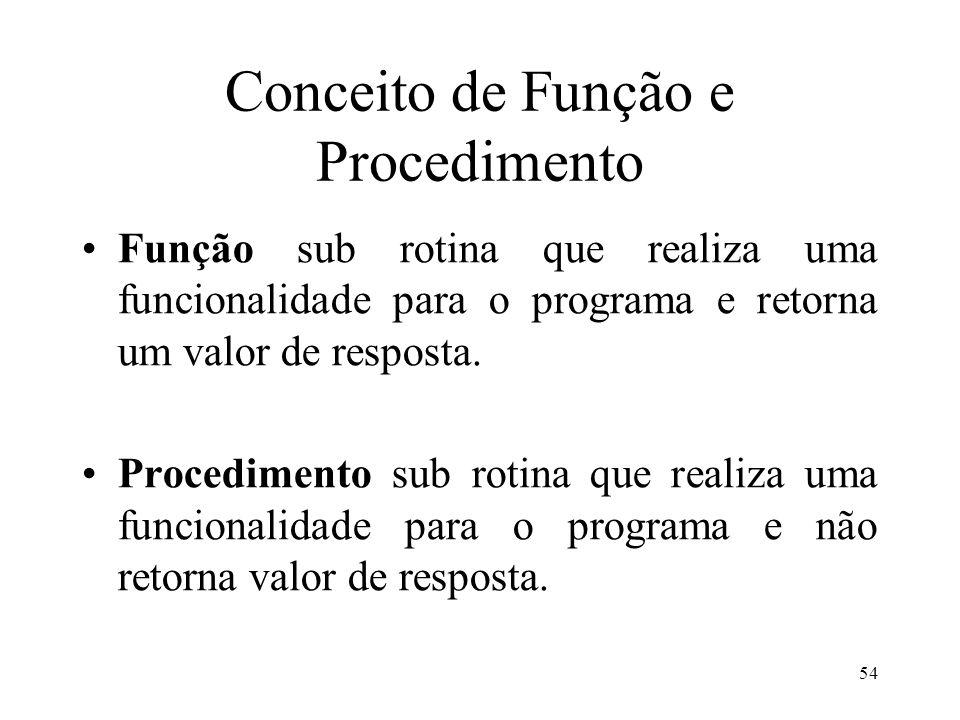 Conceito de Função e Procedimento Função sub rotina que realiza uma funcionalidade para o programa e retorna um valor de resposta.