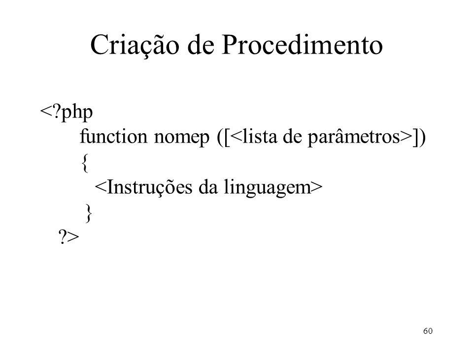 Criação de Procedimento ]) { } > 60