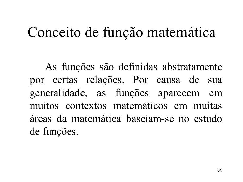 Conceito de função matemática As funções são definidas abstratamente por certas relações.