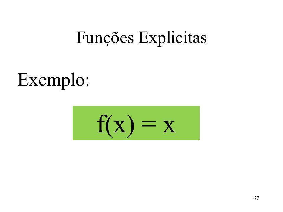 Funções Explicitas Exemplo: 67 f(x) = x