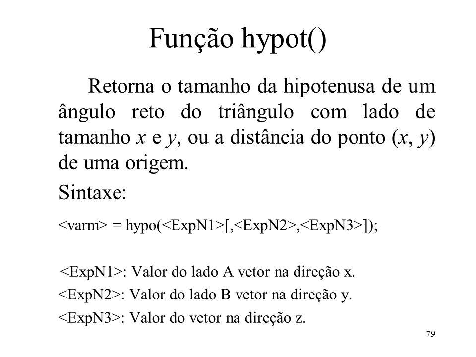 Função hypot() Retorna o tamanho da hipotenusa de um ângulo reto do triângulo com lado de tamanho x e y, ou a distância do ponto (x, y) de uma origem.