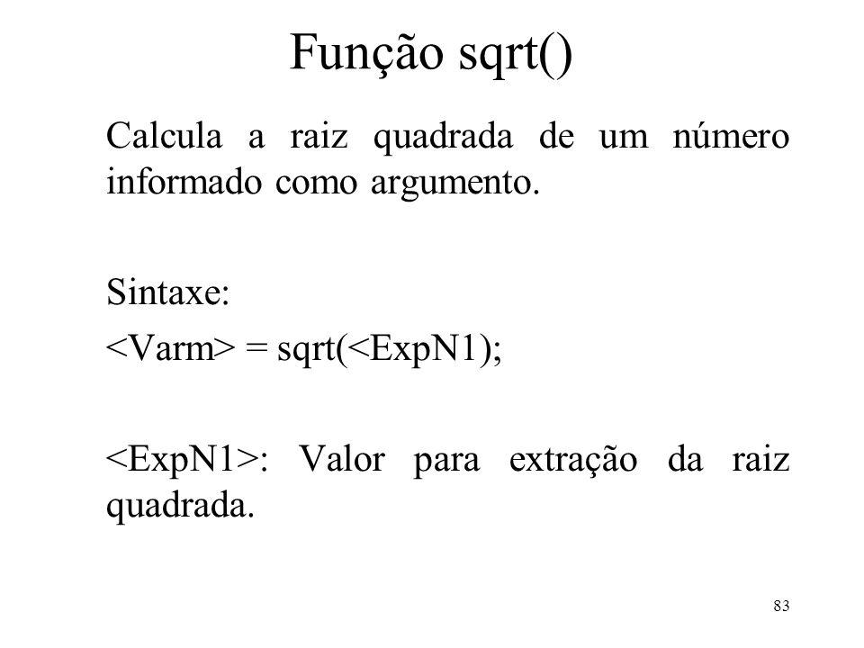 Função sqrt() Calcula a raiz quadrada de um número informado como argumento.