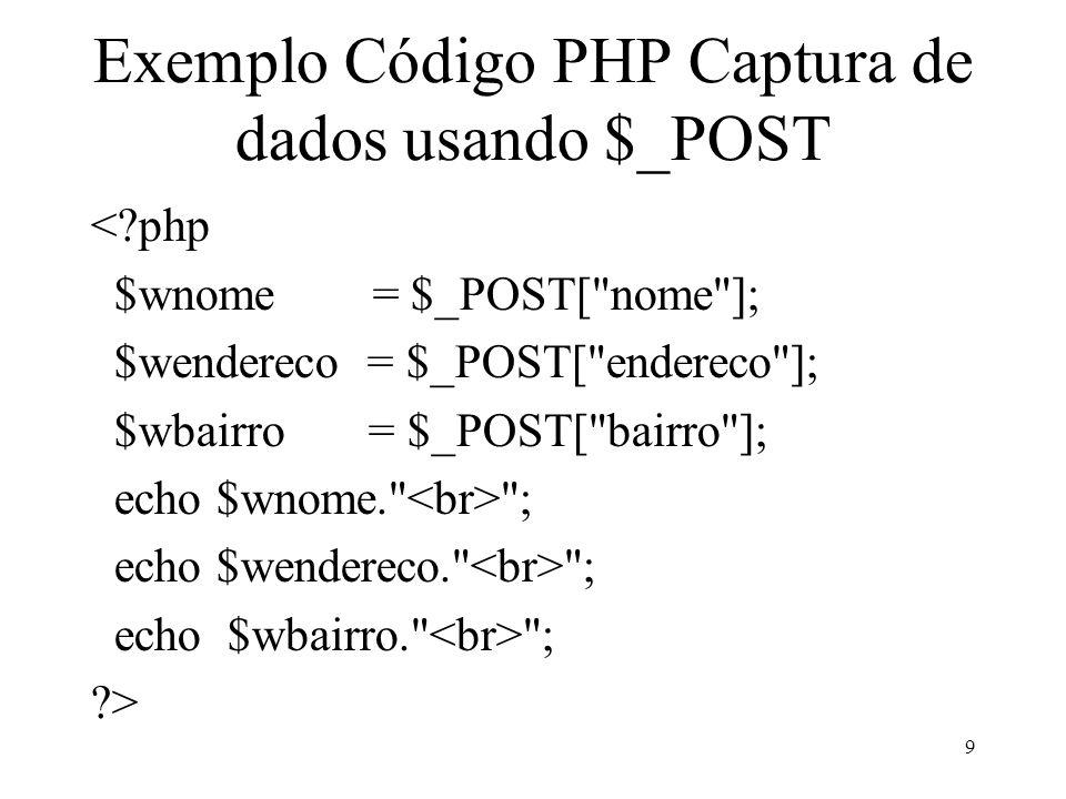 Exemplo Código PHP Captura de dados usando $_POST <?php $wnome = $_POST[