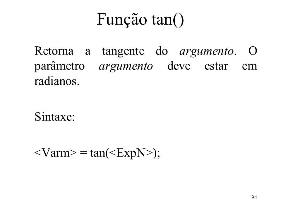 Função tan() Retorna a tangente do argumento.O parâmetro argumento deve estar em radianos.