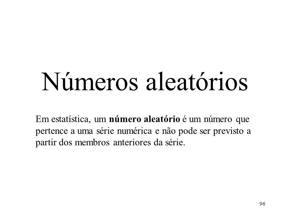 Números aleatórios Em estatística, um número aleatório é um número que pertence a uma série numérica e não pode ser previsto a partir dos membros anteriores da série.