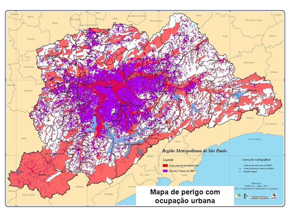 Mapa de perigo com ocupação urbana