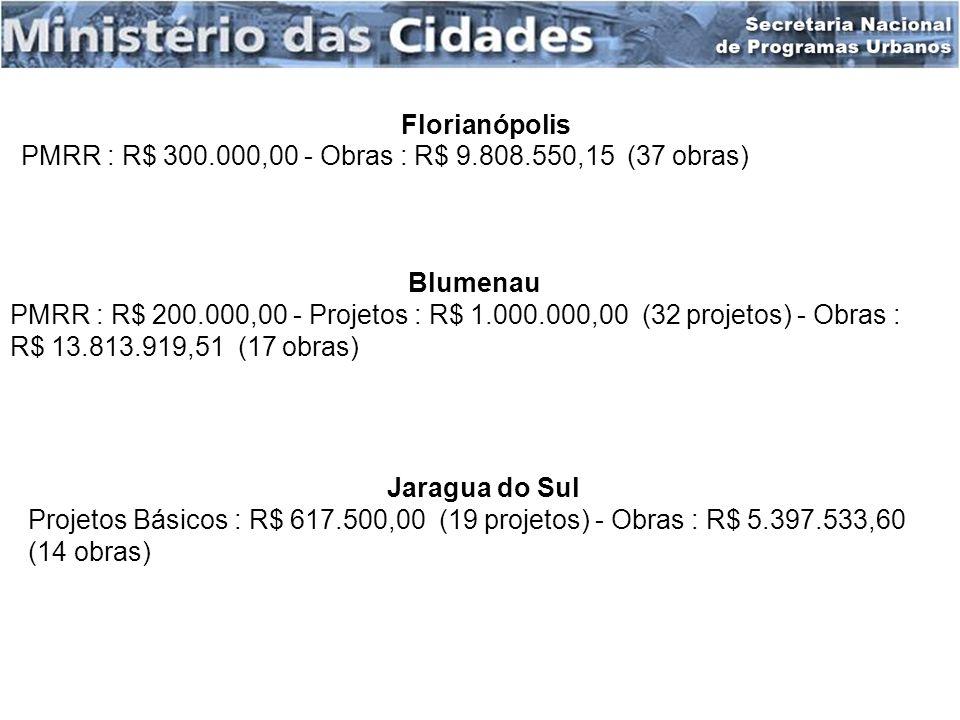 Florianópolis PMRR : R$ 300.000,00 - Obras : R$ 9.808.550,15 (37 obras) Blumenau PMRR : R$ 200.000,00 - Projetos : R$ 1.000.000,00 (32 projetos) - Obr