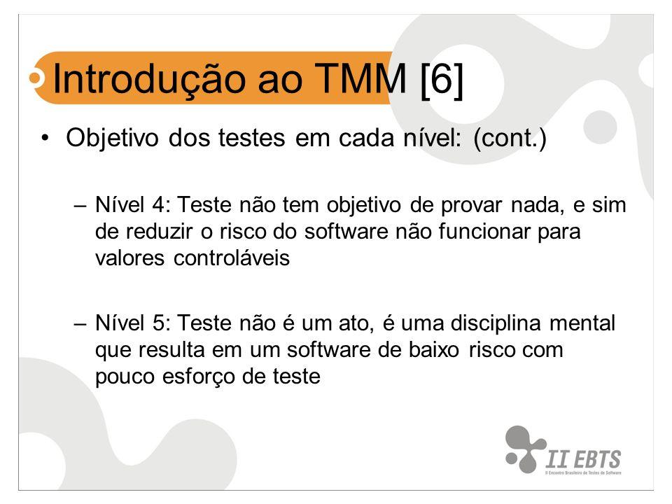 Introdução ao TMM [6] Objetivo dos testes em cada nível: (cont.) –Nível 4: Teste não tem objetivo de provar nada, e sim de reduzir o risco do software