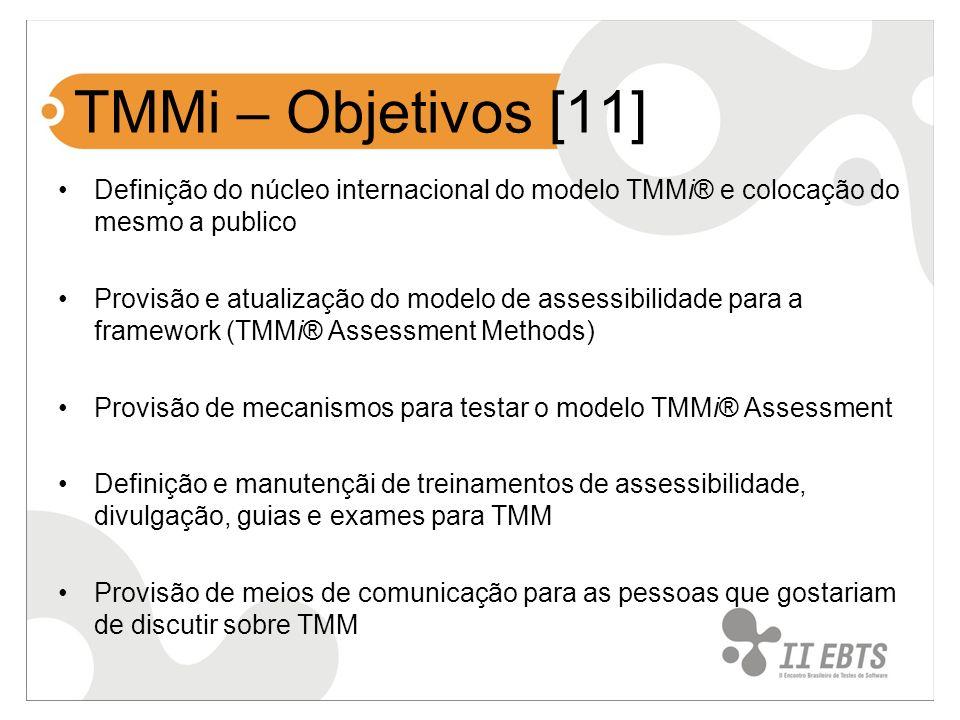 TMMi – Objetivos [11] Definição do núcleo internacional do modelo TMMi® e colocação do mesmo a publico Provisão e atualização do modelo de assessibili