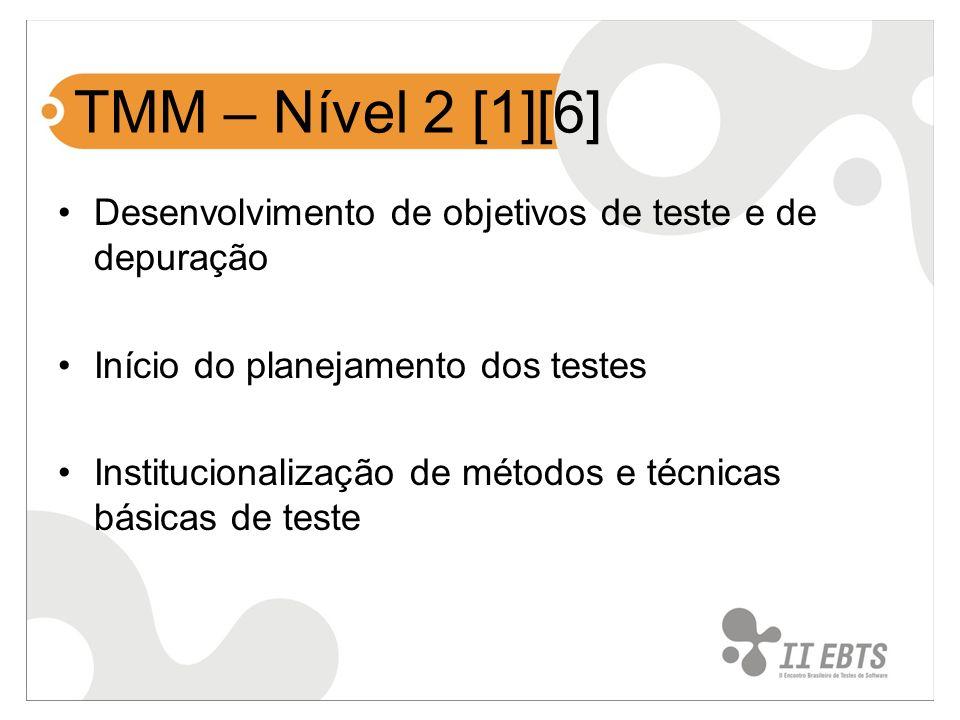 TMM – Nível 2 [1][6] Desenvolvimento de objetivos de teste e de depuração Início do planejamento dos testes Institucionalização de métodos e técnicas