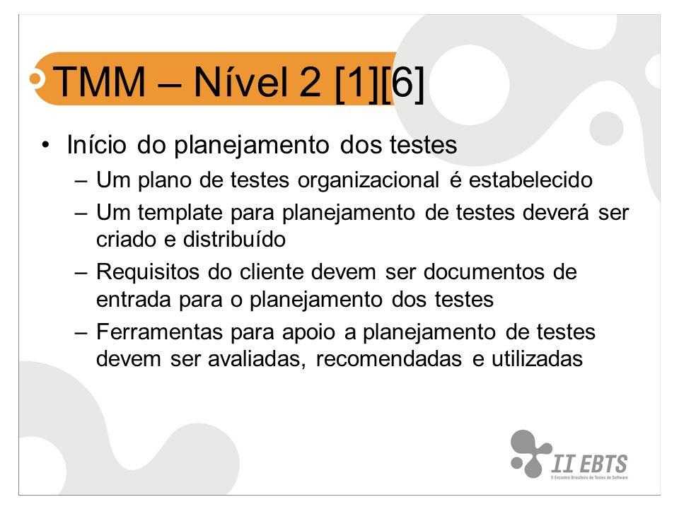 TMM – Nível 2 [1][6] Início do planejamento dos testes –Um plano de testes organizacional é estabelecido –Um template para planejamento de testes deve