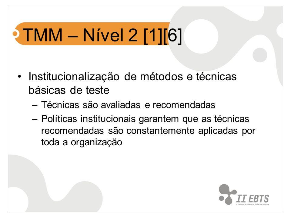 Institucionalização de métodos e técnicas básicas de teste –Técnicas são avaliadas e recomendadas –Políticas institucionais garantem que as técnicas r