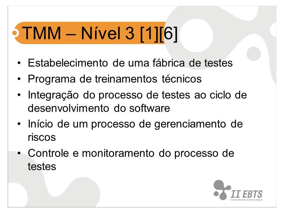 TMM – Nível 3 [1][6] Estabelecimento de uma fábrica de testes Programa de treinamentos técnicos Integração do processo de testes ao ciclo de desenvolv