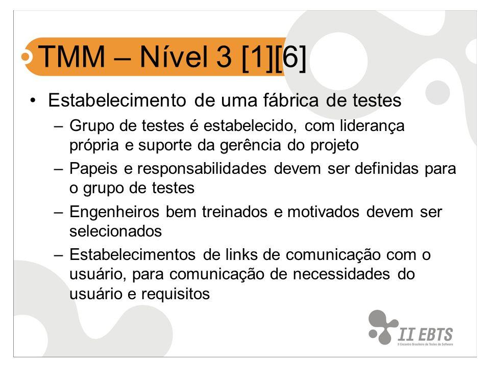 TMM – Nível 3 [1][6] Estabelecimento de uma fábrica de testes –Grupo de testes é estabelecido, com liderança própria e suporte da gerência do projeto
