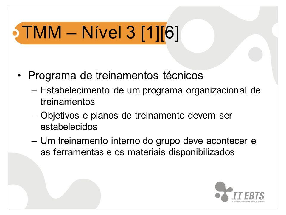 TMM – Nível 3 [1][6] Programa de treinamentos técnicos –Estabelecimento de um programa organizacional de treinamentos –Objetivos e planos de treinamen