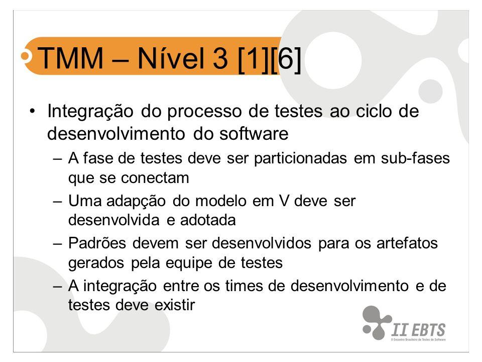 TMM – Nível 3 [1][6] Integração do processo de testes ao ciclo de desenvolvimento do software –A fase de testes deve ser particionadas em sub-fases qu
