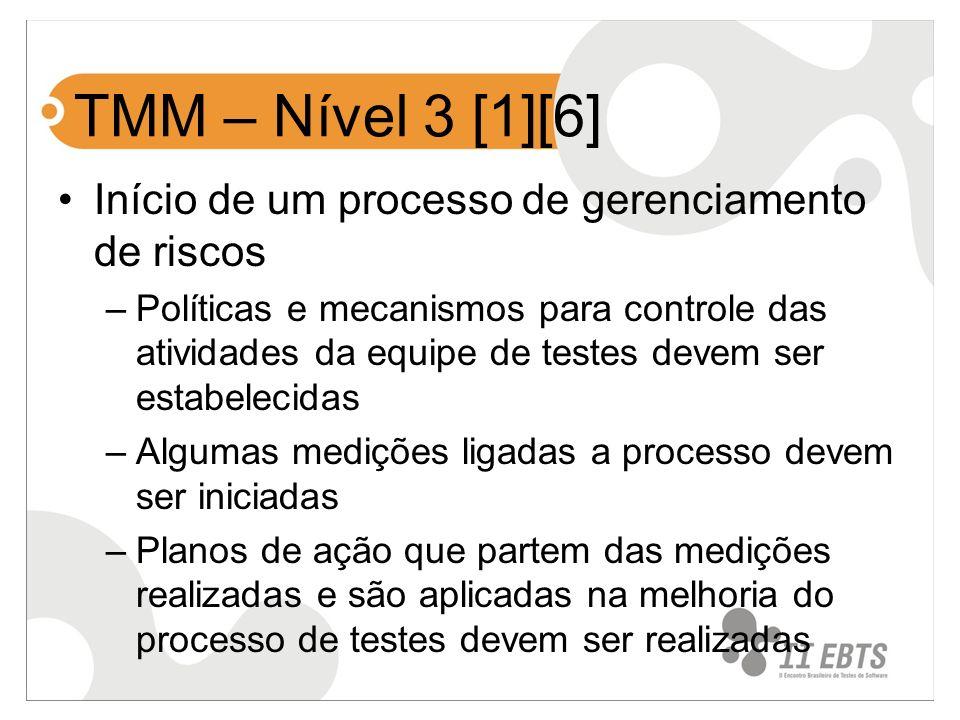 TMM – Nível 3 [1][6] Início de um processo de gerenciamento de riscos –Políticas e mecanismos para controle das atividades da equipe de testes devem s