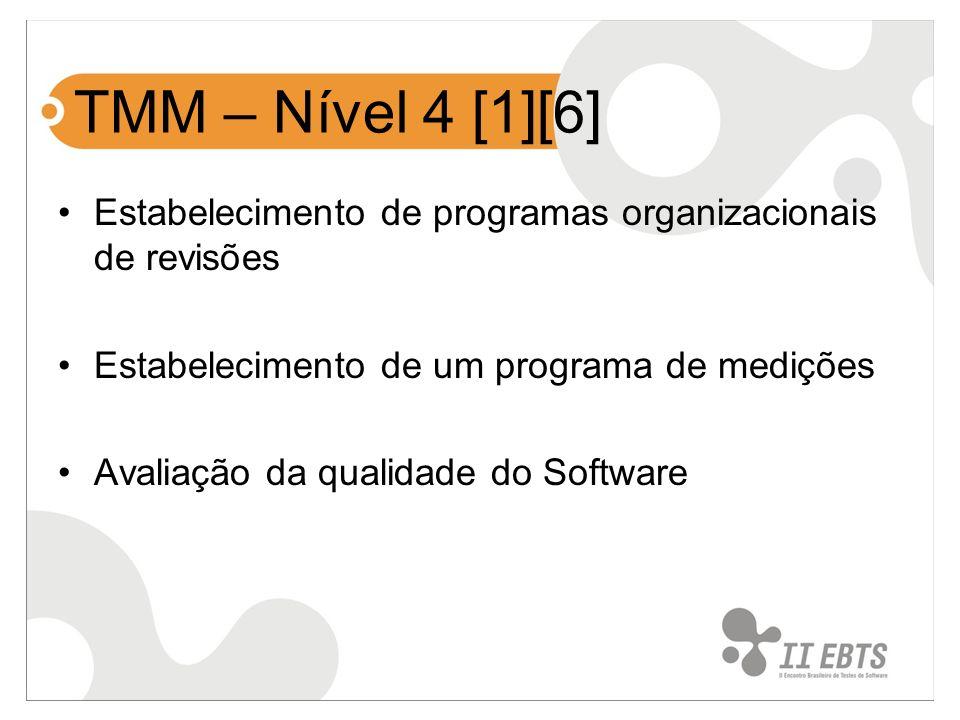 TMM – Nível 4 [1][6] Estabelecimento de programas organizacionais de revisões Estabelecimento de um programa de medições Avaliação da qualidade do Sof