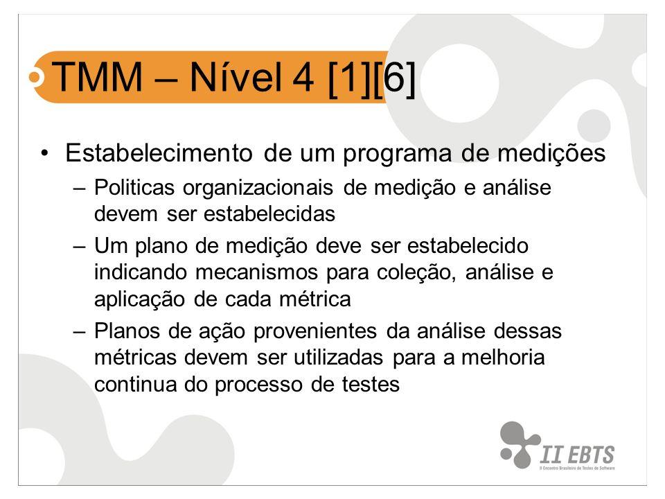 TMM – Nível 4 [1][6] Estabelecimento de um programa de medições –Politicas organizacionais de medição e análise devem ser estabelecidas –Um plano de m
