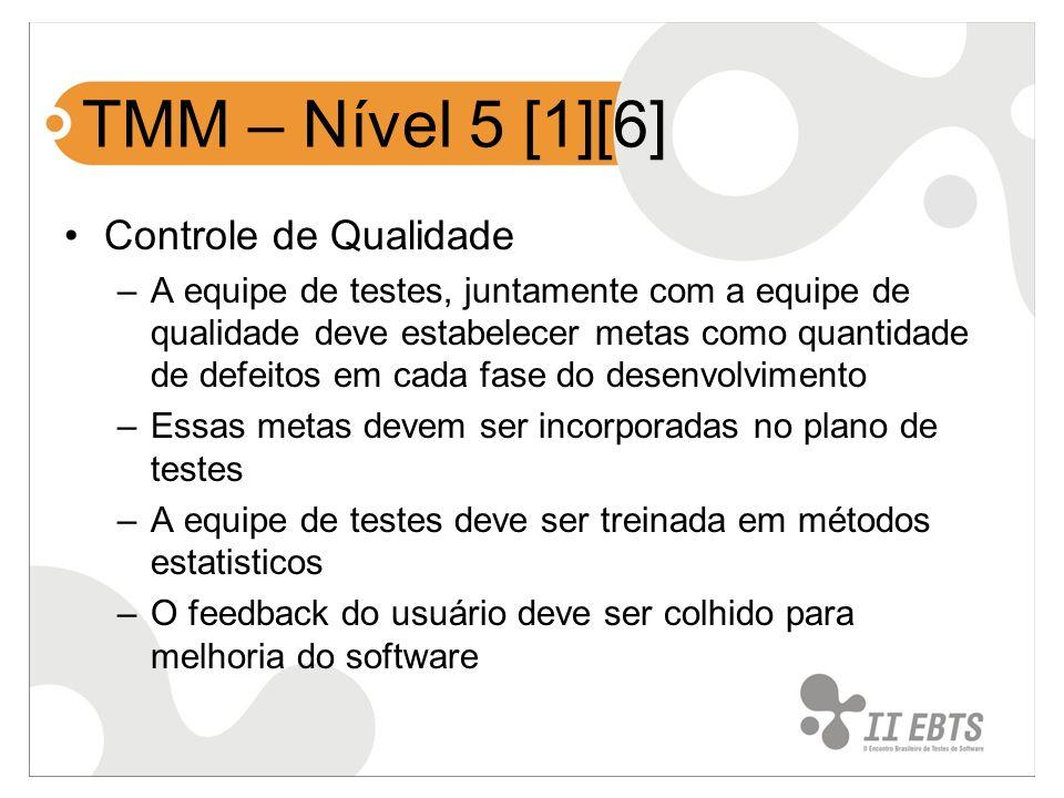 TMM – Nível 5 [1][6] Controle de Qualidade –A equipe de testes, juntamente com a equipe de qualidade deve estabelecer metas como quantidade de defeito