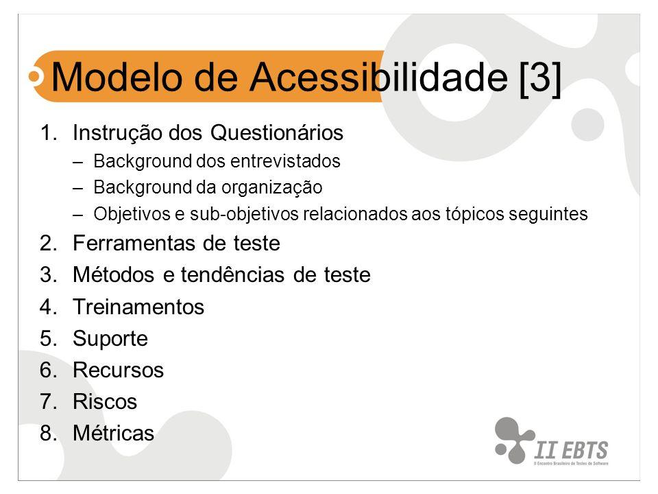 Modelo de Acessibilidade [3] 1.Instrução dos Questionários –Background dos entrevistados –Background da organização –Objetivos e sub-objetivos relacio