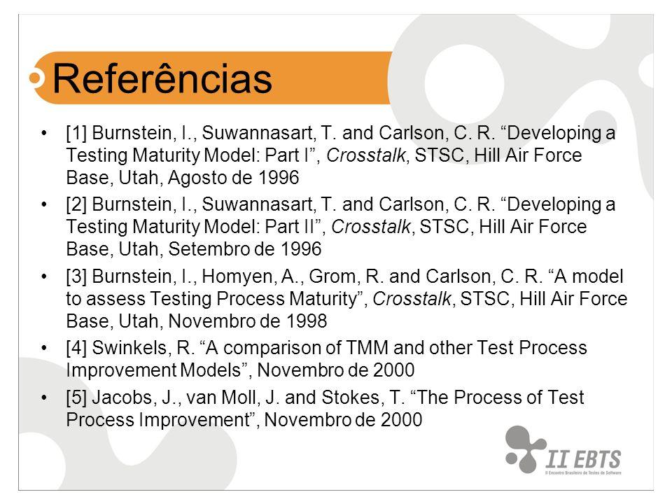 Referências [1] Burnstein, I., Suwannasart, T. and Carlson, C. R. Developing a Testing Maturity Model: Part I, Crosstalk, STSC, Hill Air Force Base, U