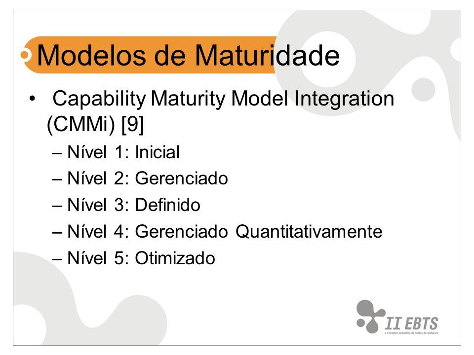 Modelos de Maturidade Capability Maturity Model Integration (CMMi) [9] –Nível 1: Inicial –Nível 2: Gerenciado –Nível 3: Definido –Nível 4: Gerenciado