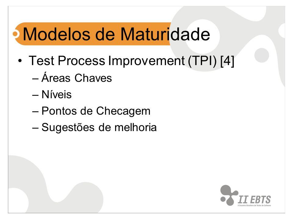 Modelos de Maturidade Test Process Improvement (TPI) [4] –Áreas Chaves –Níveis –Pontos de Checagem –Sugestões de melhoria