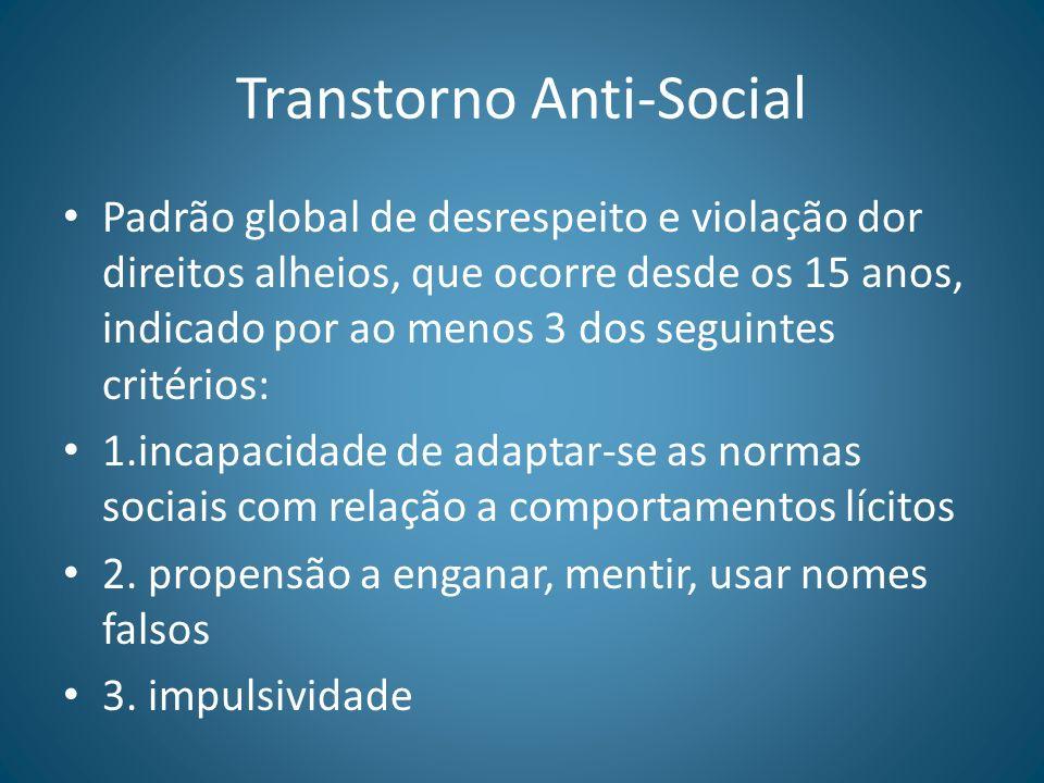 Transtorno Anti-Social Padrão global de desrespeito e violação dor direitos alheios, que ocorre desde os 15 anos, indicado por ao menos 3 dos seguinte