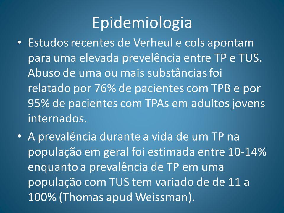 Epidemiologia Estudos recentes de Verheul e cols apontam para uma elevada prevelência entre TP e TUS. Abuso de uma ou mais substâncias foi relatado po