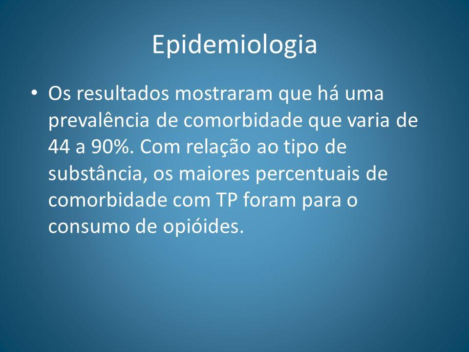Epidemiologia Os resultados mostraram que há uma prevalência de comorbidade que varia de 44 a 90%. Com relação ao tipo de substância, os maiores perce