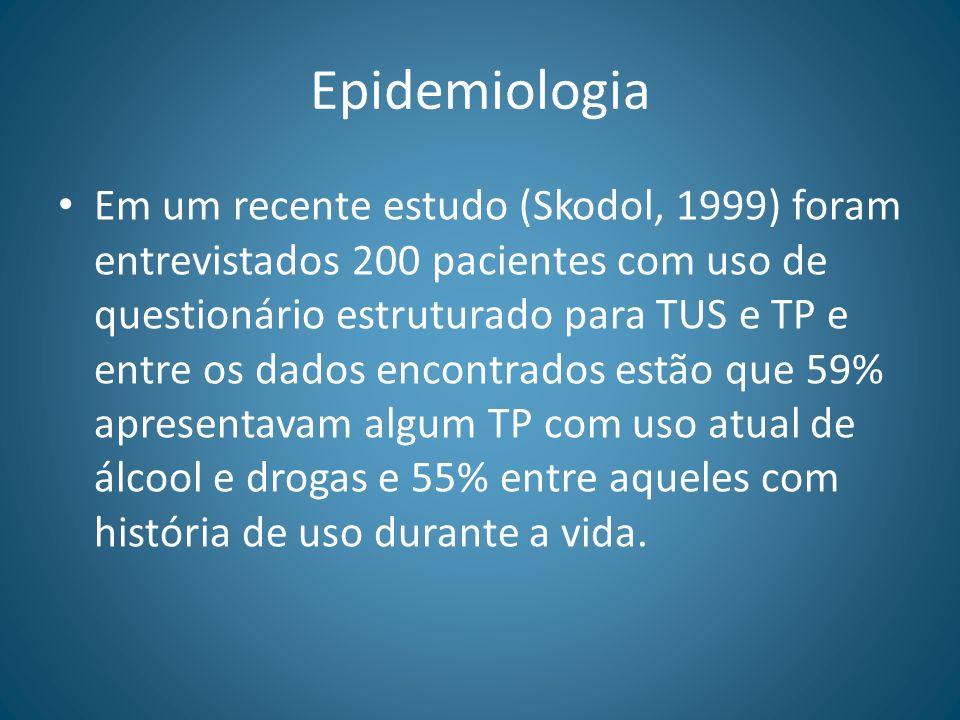 Epidemiologia Em um recente estudo (Skodol, 1999) foram entrevistados 200 pacientes com uso de questionário estruturado para TUS e TP e entre os dados