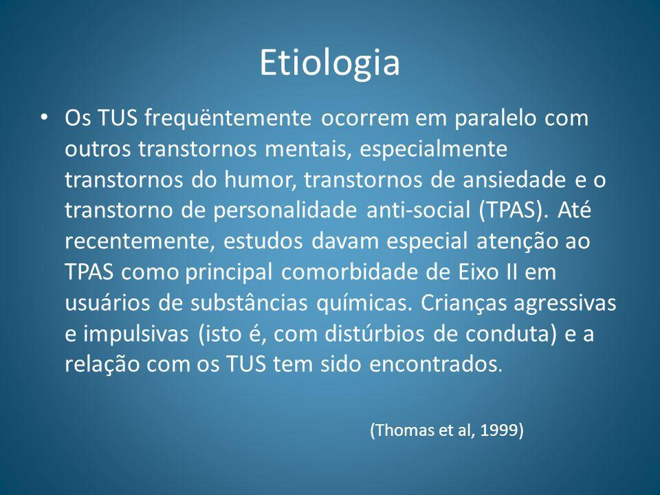 Etiologia Os TUS frequëntemente ocorrem em paralelo com outros transtornos mentais, especialmente transtornos do humor, transtornos de ansiedade e o t
