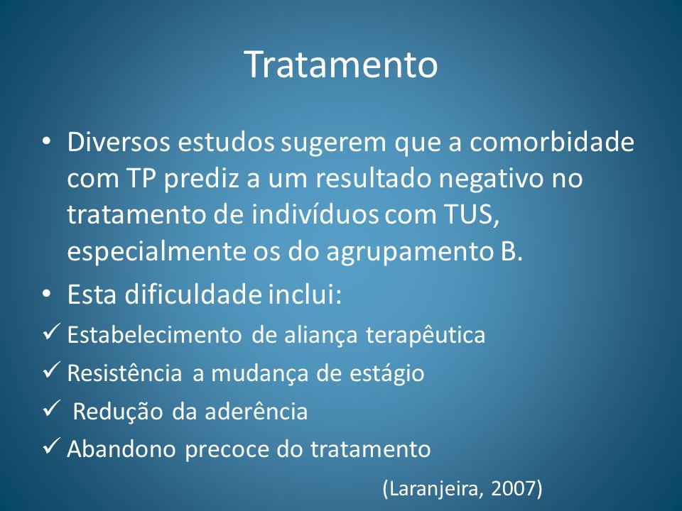 Tratamento Diversos estudos sugerem que a comorbidade com TP prediz a um resultado negativo no tratamento de indivíduos com TUS, especialmente os do a