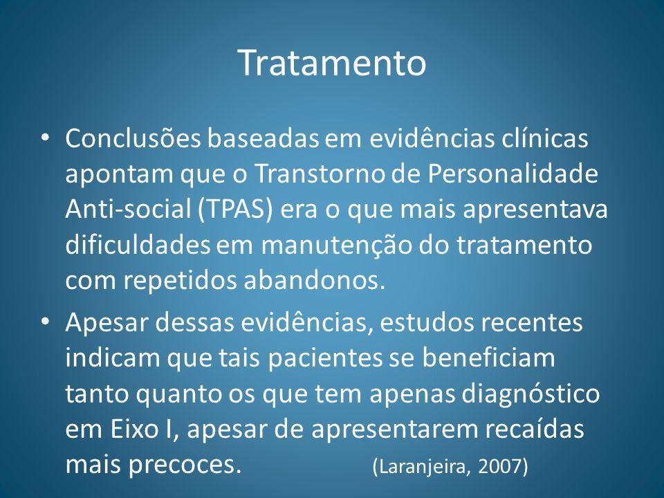 Tratamento Conclusões baseadas em evidências clínicas apontam que o Transtorno de Personalidade Anti-social (TPAS) era o que mais apresentava dificuld
