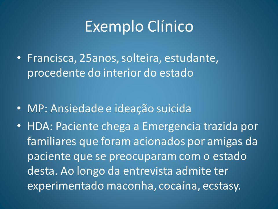 Exemplo Clínico Francisca, 25anos, solteira, estudante, procedente do interior do estado MP: Ansiedade e ideação suicida HDA: Paciente chega a Emergen
