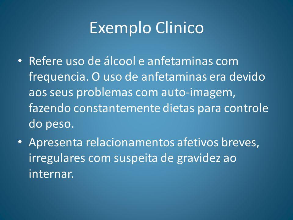 Exemplo Clinico Refere uso de álcool e anfetaminas com frequencia. O uso de anfetaminas era devido aos seus problemas com auto-imagem, fazendo constan