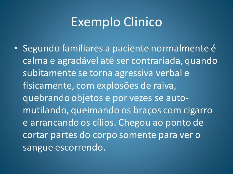 Exemplo Clinico Segundo familiares a paciente normalmente é calma e agradável até ser contrariada, quando subitamente se torna agressiva verbal e fisi